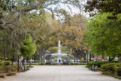 Forsyth Park and Fountain in Historic Savannah royalty free stock photos