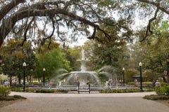 Forsyth Park and Fountain in Historic Savannah stock photography