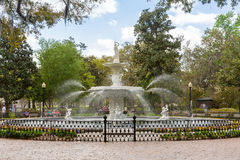 Forsyth Park and Fountain in Historic Savannah royalty free stock photography