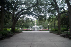 Forsyth Park Fountian Along Pathway. In Savannah Georgia royalty free stock photo