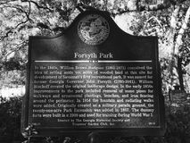 A Sign Giving the Details of Forsyth Park in Savannah, Georgia. Forsyth Park is a large city park that occupies 30 acres in the historic district of Savannah royalty free stock photo
