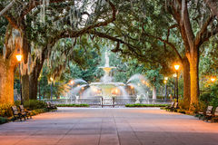 Forsyth Park. Savannah, Georgia, USA at Forsyth Park Fountain royalty free stock image