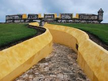 Fort. Entrance to fort at Campeche, Mexico Stock Photo