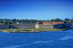 Fort Adams on a Clear Day. View of Fort Adams in Newport, Rhode Island from the sea Stock Photography
