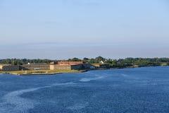 Fort Adams in Newport. View of Fort Adams in Newport, Rhode Island from the sea stock photo