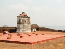Fort Aguada i swój latarnia morska Zdjęcia Royalty Free