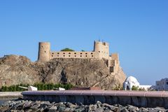 Fort Al-Jalali in old Muscat - Muscat, Oman royalty free stock photo