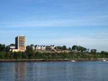 Fort Allen Park. Historic Fort Allen Park and surrounding homes and buildings in Portland, Maine seen from the water stock photography