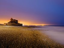 Fort Ambleteuse at the French coast during twilight. Fort Ambleteuse Fort Mahon, made by architectSébastien Le Prestre de Vauban  during morning twilight, with Royalty Free Stock Photography