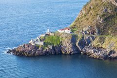 Fort Amherst Lighthouse in St. John`s. St. John`s, Newfoundland and Labrador, Canada stock photo