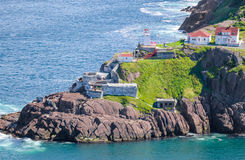 Fort Amherst in St Johns Newfoundland, Canada. Sunny summer day over the coastline and cliffs of National Historic Site of Canada, Fort Amherst in St Johns stock photo