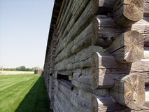 Fort Atkinson Nebraska. The outside of a log fort royalty free stock images