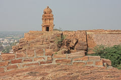 Fort atop rocky mountain at Badami Stock Photo