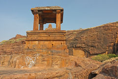 Fort atop rocky mountain at Badami Royalty Free Stock Images