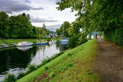 Caledonian Canal and boats at Fort Agustus royalty free stock images