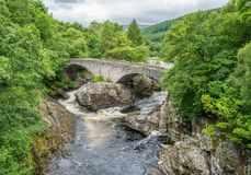 Invermoriston Falls near Fort Augustus, on Loch Ness, Scottish Highlands. Fort Augustus is a settlement in the parish of Boleskine and Abertarff, at the south royalty free stock images