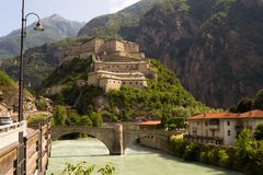 Fort Bard in Aosta valley, Italy stock photo