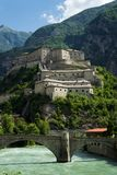 Fort Bard in Aosta valley, Italy royalty free stock image