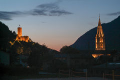 Fort Bâtiaz and Notre-Dame de la Visitation church at Martigny Stock Image
