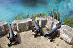 Fort Beekenburg cannons on Curacao Royalty Free Stock Photo