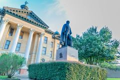 Fort Bend County Courthouse With Statute Of The 2nd President Of Texas stock photo