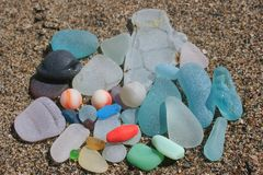 Free Fort Bragg California Sea Glass Marbles Royalty Free Stock Images - 166993509