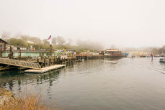 Fort Bragg, the Noyo River, California. A panoramic view of the river and the stilts in Fort Bragg Royalty Free Stock Photography