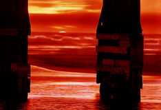 Fort Bragg sunset. Under the pier at fort bragg stock image