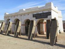 Fort Bravo Undertaker. FORT BRAVO SPAIN - JANUARY 23RD. Wooden coffins outside undertaker in Fort Bravo Film Set Tabernas Desert. Fort Bravo, Spain January 23rd Stock Photography