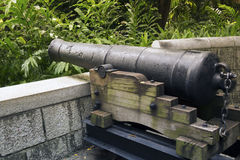 Fort Canning cannon. Historical 9-pounds cannon placed on the hill of famous Fort Canning Park in Singapore stock photo