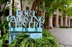 Fort Canning Centre sign Singapore. Singapore - May 16, 2013: A sign in front of the Fort Canning Center, Singapore. Located on a hill, Fort Canning Park is one Stock Images