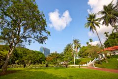 Fort Canning Park. With Raffles House in Singapore stock photography