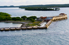 Fort and cannon platform Cartagena harbor Royalty Free Stock Photo