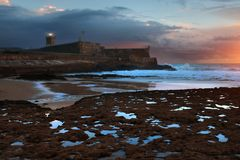 Fort in Carcavelos Beach Stock Image