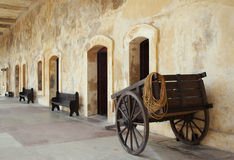 Fort Cart. Spanish Antique Cart in Fort Royalty Free Stock Photo