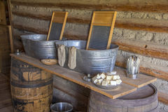 Fort Caspar Memorabilia circa 1865. Clothes wash stand at Fort Caspar, Wyoming.  Also known as Platte Bridge Station Stock Photo