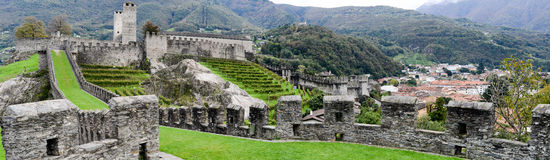 The Fort of Castelgrande at Bellinzona on the Swiss alps Stock Photo