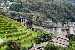 The Fort of Castelgrande at Bellinzona on the Swiss alps Royalty Free Stock Photography