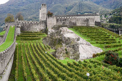 The Fort of Castelgrande at Bellinzona on the Swiss alps Stock Photos