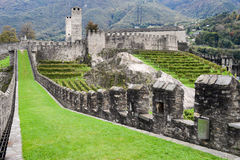 The Fort of Castelgrande at Bellinzona on the Swiss alps Stock Photography