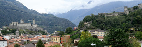 The Fort of Castelgrande and Montebello at Bellinzona on the Swi Stock Photography