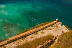 Fort Castillo del Moro, Santiago De Cuba, Cuba: From the walls of the bastions open incredible beauty views of the coastline of th royalty free stock photo