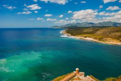 Fort Castillo del Moro, Santiago De Cuba, Cuba: From the walls of the bastions open incredible beauty views of the coastline of th royalty free stock image
