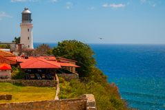 Fort Castillo del Moro, Santiago De Cuba, Cuba: A functioning lighthouse that indicates the entrance to the second largest Bay in. Cuba royalty free stock photo