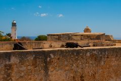 Fort Castillo del Moro, Santiago De Cuba, Cuba: A functioning lighthouse that indicates the entrance to the second largest Bay in. Cuba stock photography
