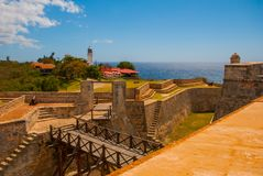 Fort Castillo del Moro, Santiago De Cuba, Cuba: A functioning lighthouse that indicates the entrance to the second largest Bay in. Cuba royalty free stock images