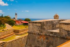 Fort Castillo del Moro, Santiago De Cuba, Cuba: A functioning lighthouse that indicates the entrance to the second largest Bay in. Cuba royalty free stock image