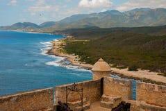 Fort Castillo del Moro, Santiago De Cuba, Cuba: Van de muren van de meningen van de bastionen open ongelooflijke schoonheid van d stock fotografie