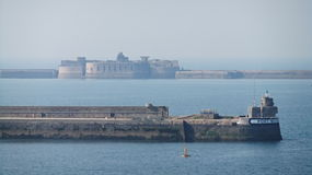 Fort Central. Cherbourg Harbour a harbour in France, is believed to be the second largest artificial harbour in the world Stock Images