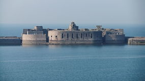 Fort Central. Cherbourg Harbour a harbour in France, is believed to be the second largest artificial harbour in the world Royalty Free Stock Images